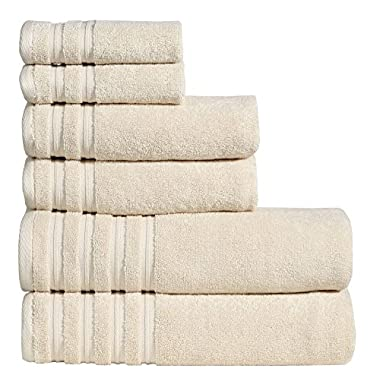 650 GSM Luxury Bathroom 6-Piece Towel Set, Made of 100% Premium Long-Staple Combed Cotton, 2 Hotel & Spa Quality Washcloths, 2 Hand Towels, and 2 Bath Towels, Soft & Absorbent, BRENTWOOD, VANILLA