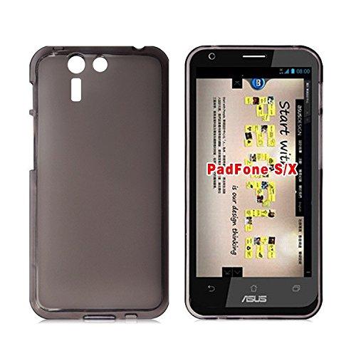 Easbuy TPU Transparent Silikon Tasche Case Etui Cover Hülle für Asus PadFone S X (Schwarz)