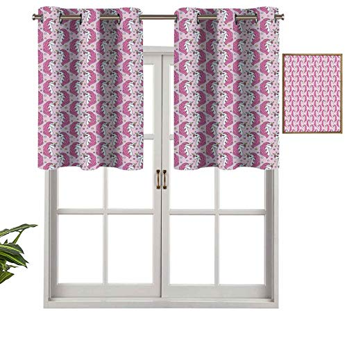 Small Window Valance Curtains Home Decor Girly Horses with Horns on Stars Background Childhood Fantasy, Set of 2, 42'x24' for Kitchen Dining Girls Room Light Filtering