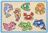 Joueco - Puzzle (8 unidades), diseño de animales marinos, color azul