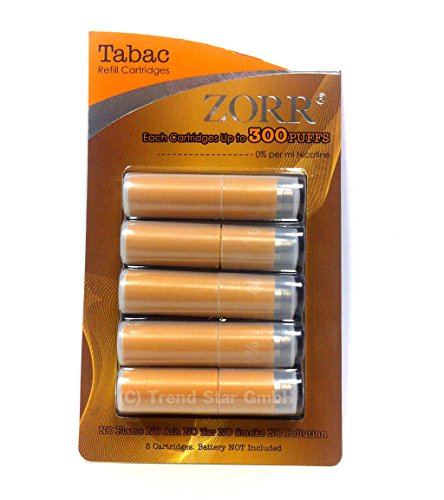 ZORR e Zigarette Aroma Patrone eZigarette BULK OHNE Nikotin 5 Patronen (TABAK)