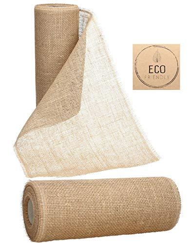 AmaCasa Juteband, Tischläufer, Soft Jute, Natur 20cm/30cm breit, 10m Rolle | Tischband Deko...