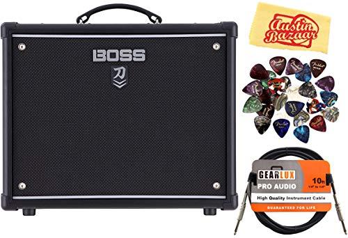 BOSS Katana 50 Mkll 50-watt 1x12' Combo Amp Bundle with Instrument Cable, 24 Picks, and Austin Bazaar Polishing Cloth