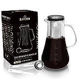 BLACKBREW Cold Brew Coffee Maker Set – Cafetera para café o té caliente – Cafetera con filtro permanente y cuchara dosificadora – Tarro para café frío, café helado o té (1200 ml)