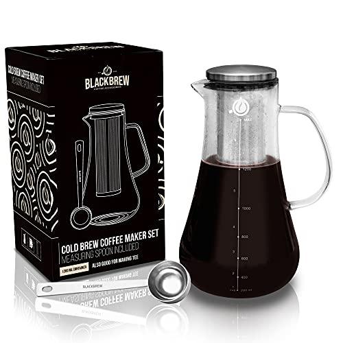 BLACKBREW Cold Brew Coffee Maker Set - Kaffeebereiter für kaltgebrühten Kaffee oder heißen Tee - Kaffeemaschine mit Permanentfilter und Dosierlöffel - Jar für Coldbrew, Iced Coffee oder Tea (1200ml)