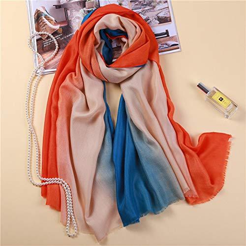 MYTJG Lady sjaal Mode Verloop Warm Sjaal Tri-Color Gestreepte Vrouwelijke Sjaal Reizen Sjaal Tas Winter Sjaal Dames