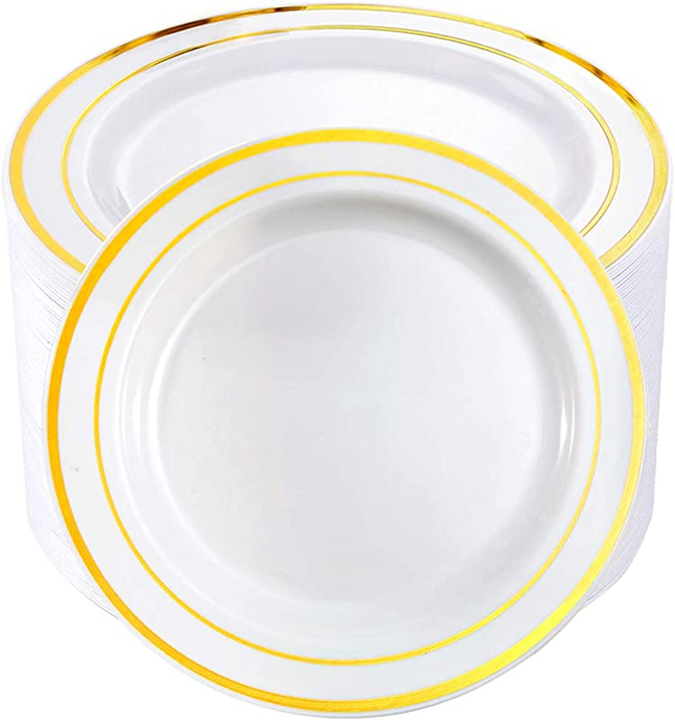 BUCLA 100Pieces Gold Plastic Plates 10 25inch Gold Rim Disposable Dinner Plates Ideal For Weddings Parties
