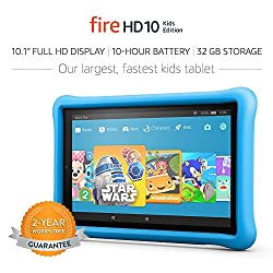 Amazon Fire Kids Edition tablet.  Having a kid-friendly tablet is a tip to make traveling with kids easier.