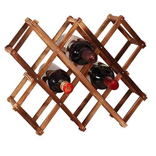 Estante de Vino de Madera Plegable de 10 Ranuras, para Almacenamiento de Botellas de Vino, Mesa de Estante para Vino, Estante para Botellas de pie, Estante de Madera para Vino, encimera para el hogar