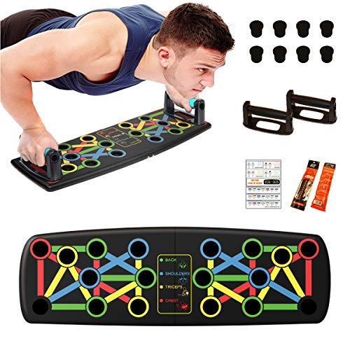 WEYON 14 in 1 Faltbare Push Up Rack Board mit Liegestützgriffe für Muskeltraining, Liegestütz Handgriff für Fitnesstraining, Muskelaufbau, Krafttraining