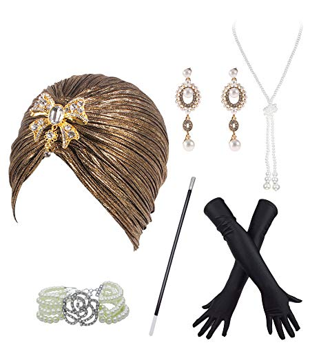 Vintage 1920s Gatsby Turban Hat Head Wrap Knit Pleated Cap w/Accessories Set (One Size, Black-Gold)