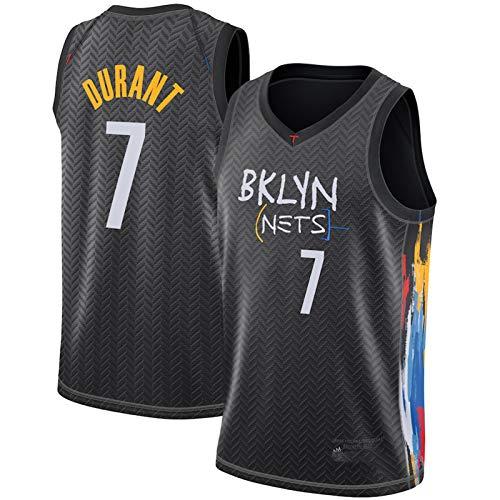 Brooklyn Nets 7# Kevin Durant Jersey, 2021 Temporada City Edition Camiseta de Baloncesto, Entrenamiento Deportivo Transpirable de Malla sin Mangas Top Chaleco (S-XX Black-M