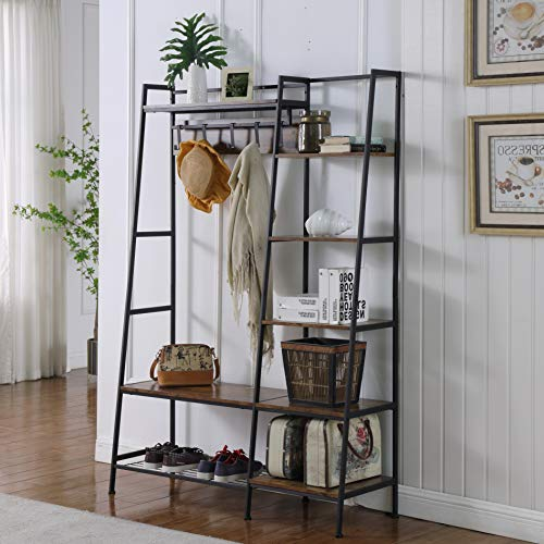 """Ohuhu 72"""" Entryway Coat Rack, Hall Tree with 5 Tier Storage Shelves, 4-in-1 Design Industrial Rack Shoe Bench with 5 Removable Hooks and Hanging Bar for Living Room Apartment Bedroom Hallway, Black"""
