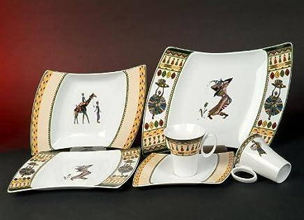 Preisvergleich für Wing Afrika Style Dekor Kaffeeservice 18 teilig Porzellan Geschirr Set Neu Eckig 6 Personen
