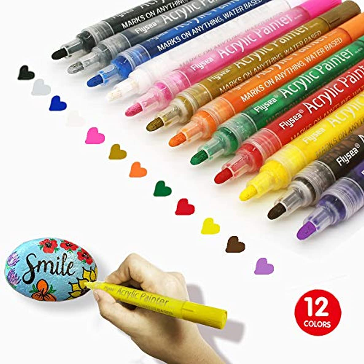 Acrylic Oil Paint Marker Pens Set of 12 Colors Medium Tip Water Based Pen for Rocks Painting, Ceramic, Glass, Wood, Fabric, Canvas, Mugs, DIY, Card Making, Photo Album, School Project, Glass, Metal
