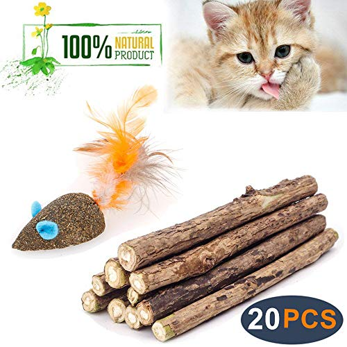 WoLover Cat Catnip Sticks Natural Matatabi Silvervine Sticks - Cleaning Teeth Molar Tools Kitten Cat Chew Toy Natural Catnip Mouse Cat Toy (20 PCS)
