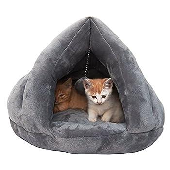 Lit confortable de chat de luxe, dormeur doux mou chaud d'hiver (M, Gris)