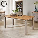 Home Source Grey Corona Pine Dining Kitchen Table Solid Wood Two Tone Distressed Waxed