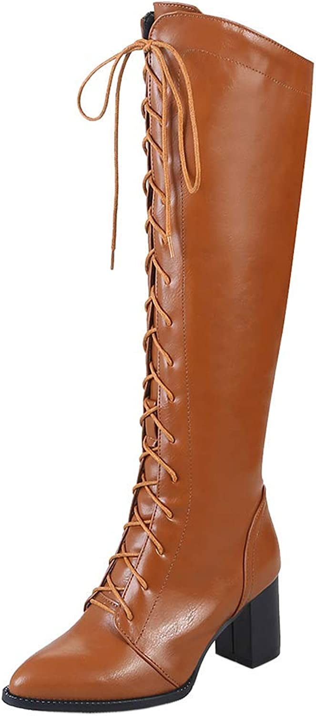 Unm Women's Fashion Knee High Boots Block Mid Heel