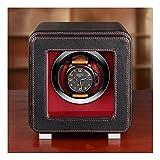 マイクロファイバーレザーウォッチワインダー、1スロット、日本のモーター、繊維板ケース、スマートタッチ、アクリル、ledlight、6つのモード、腕時計シェーカー (Color : Black, サイズ : 5.9*8.5*5.9in)