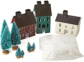 Factory Direct Craft Tin Painted Christmas Saltbox Houses Village Kit for Home Decor and Displaying - 3 Houses