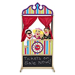 STURDY WOODEN PUPPET THEATER: The Melissa & Doug Deluxe Puppet Theater is a sturdy wooden puppet theater that features a sturdy, non-tip base, plush curtains, a clock, and a chalkboard. ENCOURAGES CREATIVE EXPRESSION: Our kids puppet theater allows k...