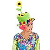 Divertido sombrero de jardinero con girasoles - Verde - Estrafalario adorno para la cabeza unisex sombrero de payaso con girasoles - Ideal para carnavales al aire libre y fiestas de música popular