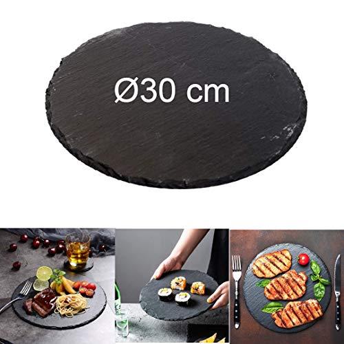 4 x Teller aus schwarzem Naturstein | Anti-Speiseteller | Sushi Barbecue Tapas Teller Pintxos Untersetzer für Bar Küche | Lebensmittelpräsentation (Ø 30 rund)