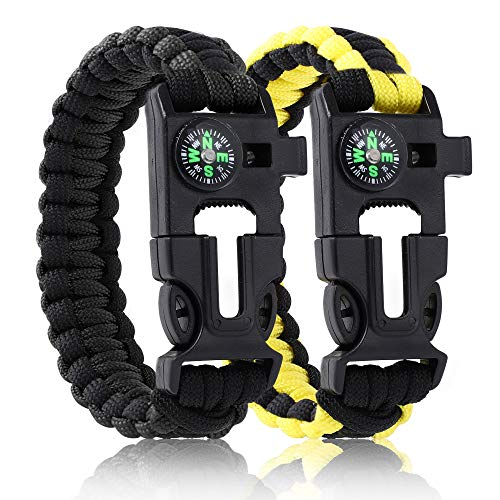 CTALADING Paracord Survival Bracelets for Men Tactical Paracord 5in1 Camping Survival Kitswith 12ft Adjustable RopeFire StarterampEmbedded CompassWhistleEmergency Knife 2pcs