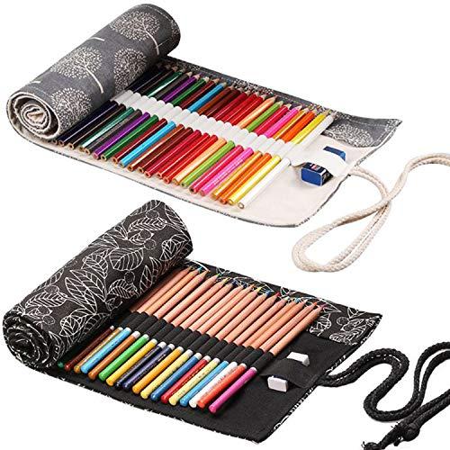 2Pcs Estuches para Lápices de Lona 36 Agujeros Estuche Enrollable para Lápices Portalápices de Lona Soporte de Rollo de Lápiz de Color Bolsa de Almacenamiento para Artista Escuela Oficina (Árbol+Hoja)