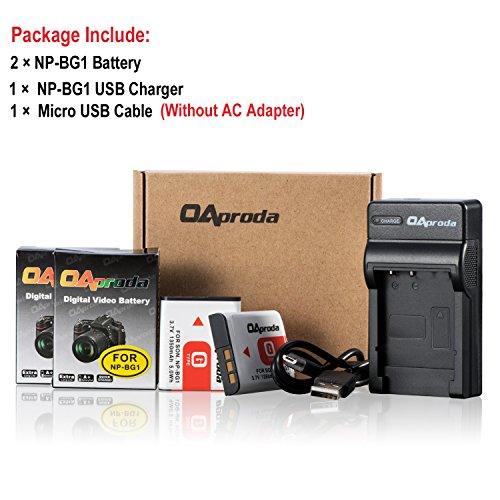 OAproda Replacement NP-BG1 Battery (2 Pack) and Ultra Slim Micro USB Battery Charger for Sony NP-FG1, CyberShot DSC-W30, W35, W50, W55, W70, W80, WX1, WX10, HX9V, H10, H20, H50, H55, H90