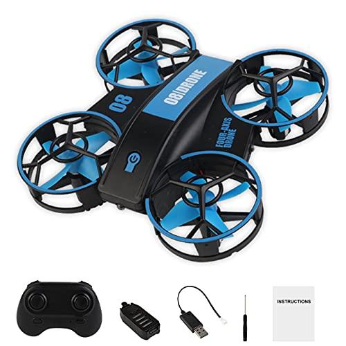 Uniqueheart RH821 Mini RC Drone Droni Senza Testa Mini RC Quadrocopter con Luce LED One Key Land Auto Hovering Flysky Toy Gift - Blu