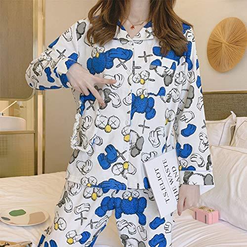 IHCIAIX Pijama de Verano para Mujer, Pijama de Primavera y otoño Femenino de Manga Larga de Dibujos Animados Traje de Dos Piezas Estudiante jovencita Lindo Servicio a Domicilio, Azul, M