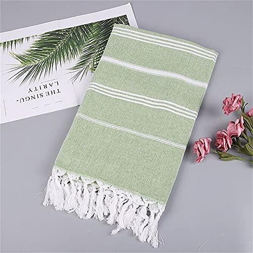Smilsiny Fouta - Toalla de playa ligera, muy grande, XXL, 100 % algodón suave, toalla de playa, toalla de baño para sauna, baño hammam, yoga, tamaño grande, 100 x 180 cm, color verde