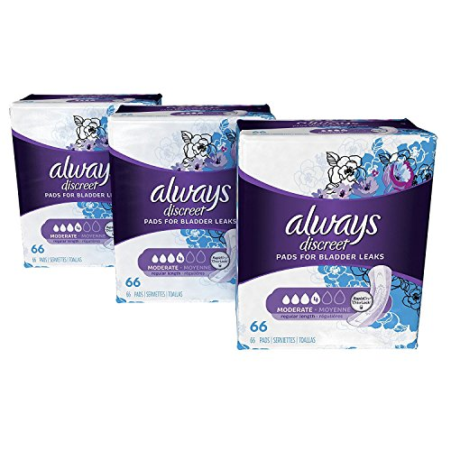 Always Discreet Incontinence Pads for Women Moderate Absorbency, Regular Length, (Pack of 3) 198 Count