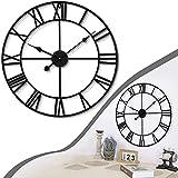 Reloj de Pared Vintage de Metal, Reloj de pared grande de metal, Relojes de Pared de Metal Grandes Silencioso, Reloj de Pared Silencioso, Reloj de pared de metal estilo vintage Diámetro 40 cm