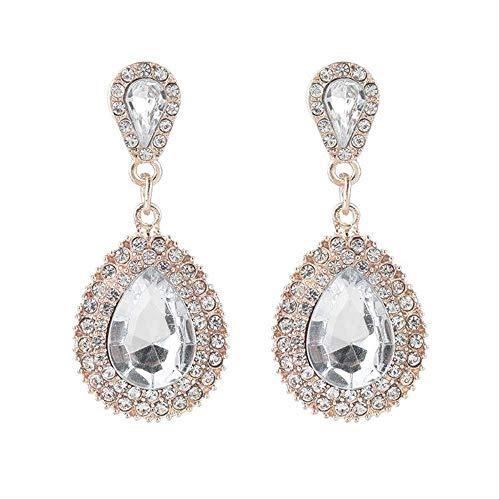 Wang PEI - Pendientes de gota de agua de lujo con diamantes de imitación para mujer, color blanco