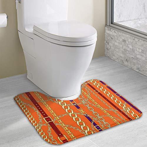 N/C Ketten und Gürtel, oranger Hintergrund, weicher Mikrofaser, Badezimmerteppich, U-Form, Memory-Schwamm, Badematte, rutschfest, für Badezimmer, WC, personalisierbar
