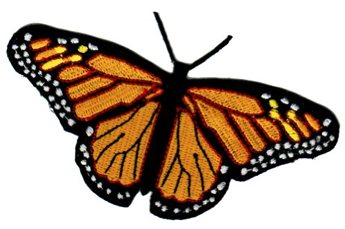 Monarch Butterfly Patch Iron-On Embroidered Colorful Insect Emblem Applique