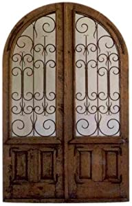 Traditional Authentic Mexican Cedar/Glass Door 3 (Rounded Top) with Hinges, Handle and Jamb