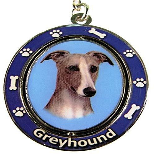 E&S Pets Greyhound Llavero Spinning Pet Llaveros Centro giratorio de doble cara con cara de galgos hecho de metal de alta calidad único y elegante regalo de galgo