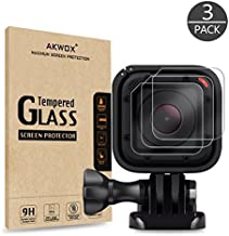 (Pack of 3) Tempered Glass Screen Protector for Gopro Hero 4 Session Hero 5 Session, Akwox 0.3mm 9H Hard Scratch-Resistant...
