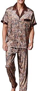 Aiweijia メンズ半袖トップス+パンツツーピースセットボタンダウンパジャマ快適な ナイトウェア