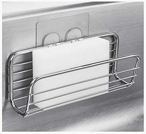 Sponge Holder Sink Caddy for Kitchen Accessories, No Drilling Adhesive,Rustproof SUS304 Stainless...