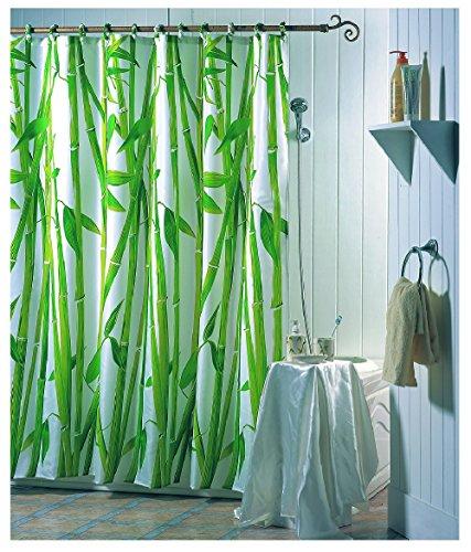 "MSV Anti-Schimmel Duschvorhang - Anti-Bakteriell, waschbar, wasserdicht, mit 12 Duschvorhangringen - Polyester, ""Bambus"" 180x200cm"