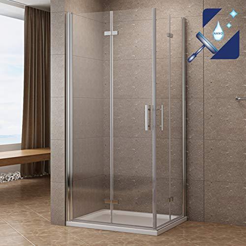 AQUABATOS 80x80 x 195 cm Duschkabine Faltbar & Klappbar Falttür Duschtür Duschwand Glas Duschtrennwand aus 6mm Sicherheitsglas (ESG) mit Nano Beschichtung