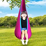 UNCHAIN Pod Swing Chair, 100% Cotton Hanging Seat Hammock Nest for Indoor and Outdoor Use - Great for Children, All Accessories Included (Rose)