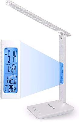 vovovo Lampe de Table Calendar Dimmable Lampe de Bureau LED avec Intelligent Pliable Lampe de Chevet Protection des Yeux 3 Couleurs de lumière pour Lecture Travail Étude