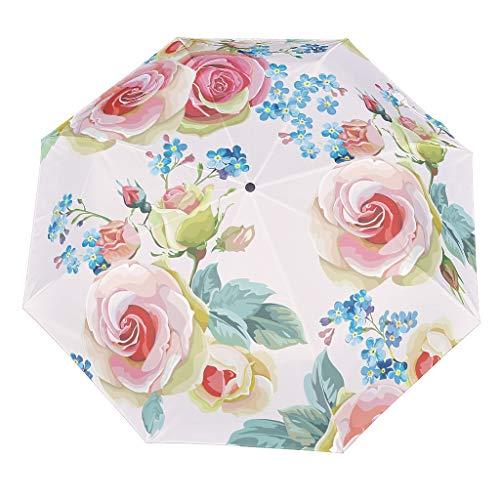 Personalisiert Regenschirm Taschenschirm Pflanze Blume Leicht Kompakt Windsicher Auf-Zu-Automatik Faltbarer Reiseschirm White OneSize