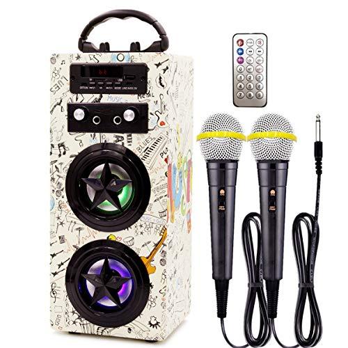 IndeCool - Máquina de karaoke con Bluetooth para niños, con 2 micrófonos, recargable, mando a distancia inalámbrico, bocina de...